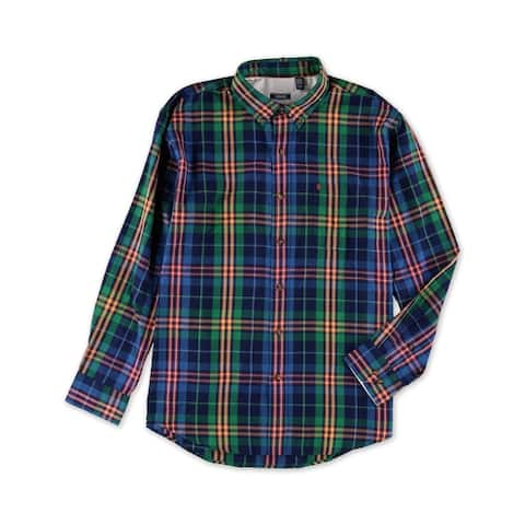 IZOD Mens Classic Fit Plaid Button Up Shirt, Green, Small