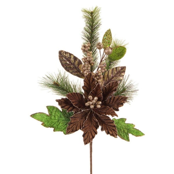 Pack of 4 Polyester Brown Poinsettia and Pine Spray 22""