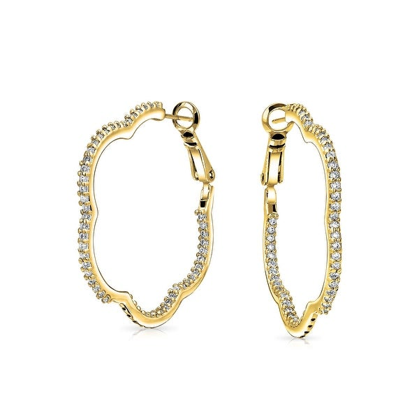 Shop Clover Flower Shape Pave Set Cubic Zirconia CZ Large Hoop Earrings For  Women 14K Gold Plated Brass 1.6 In Dia - Free Shipping On Orders Over  45 -  - ... 9718528251e6