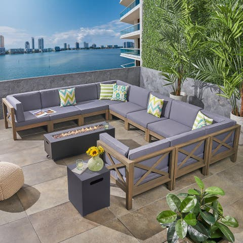 Comores Outdoor Acacia Wood 10 Seater U-Shaped Sectional Sofa Set with Fire Pit by Christopher Knight Home