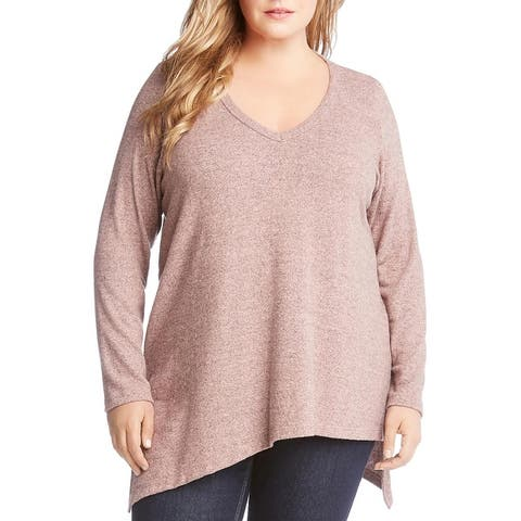 Karen Kane Womens Plus Pullover Top Asymmetric V-Neck