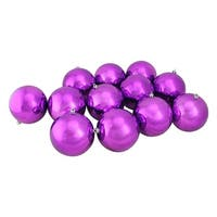 "12ct Shatterproof Shiny Light Magenta Pink Christmas Ball Ornaments 4"" (100mm)"