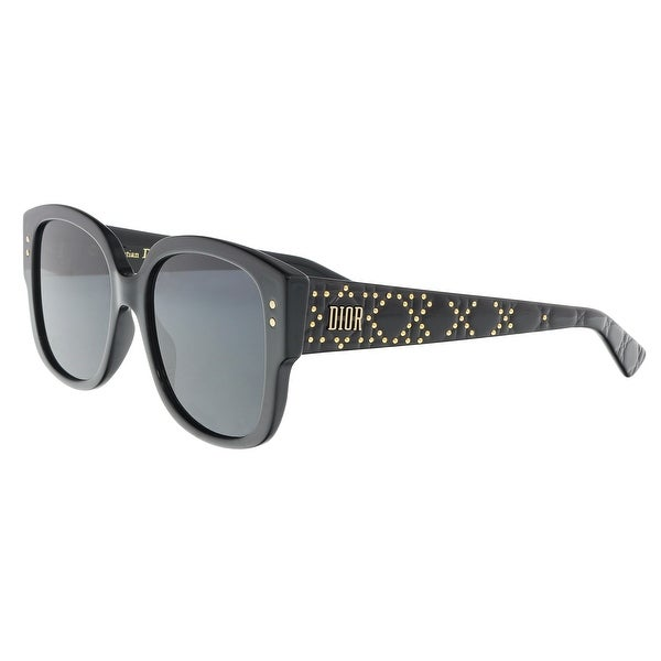 1c0d7251c1 Shop Christian Dior LADYDIORSTUDS 0807 Black Square Sunglasses - 54 ...
