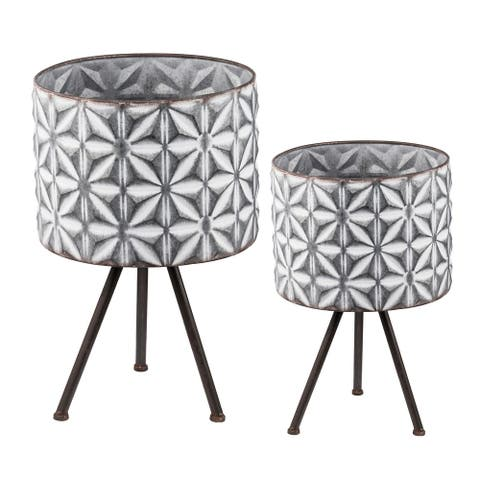 A&B Home Gray and White Large Round Planters on Stands (Set of 2)