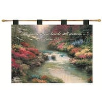 "Thomas Kinkade ""Still Waters"" Religious Pictorial Wall Art Hanging Tapestry 26"" x 36"