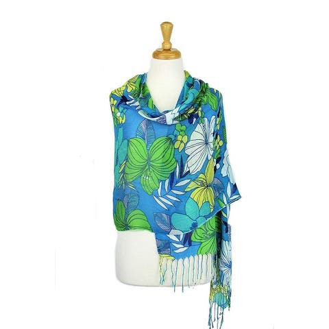 Women's Fashion Floral Soft Wraps Scarves - F10 Camal Yellow - Large