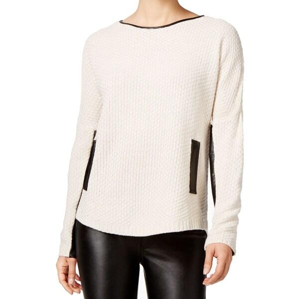 BCX Beige Black Women's Medium M Pleather-Trim Boat Neck Sweater
