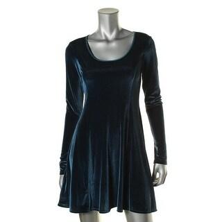 BCBGeneration Womens Velvet Long Sleeves Mini Dress