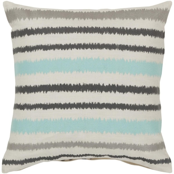 "22"" Verano Stripes Ivory, Gray and Light Blue Decorative Square Throw Pillow - Down Filler"