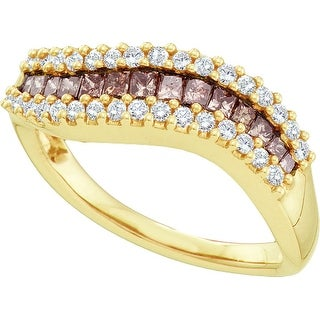 14k Yellow Gold Cognac-brown Colored Princess Diamond Womens Curved Contoured Fine Band 2/3 Cttw - Brown/White