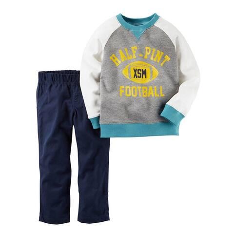 Carter's Boys Baby 2 Piece Playwear Set Half-Pint Football Grey/Navy 12M - Heather Grey/Navy - 12 Months