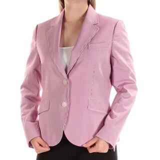 Womens White Purple Striped Wear To Work Blazer Jacket Size 10