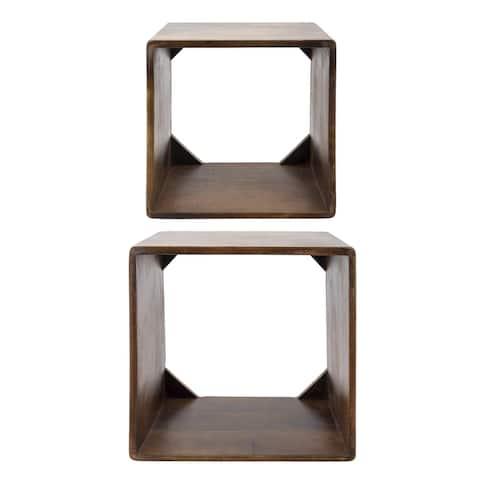 "S/2 14/16"" Wood Cubes, Brown"
