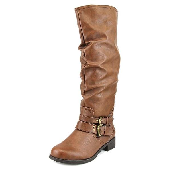 XOXO Morgan Wide Calf Women Round Toe Synthetic Brown Knee High Boot