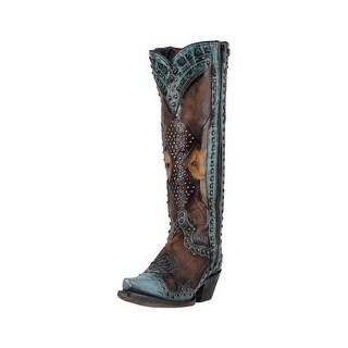 Dan Post Western Boots Womens Natasha Studded Snip Toe Green
