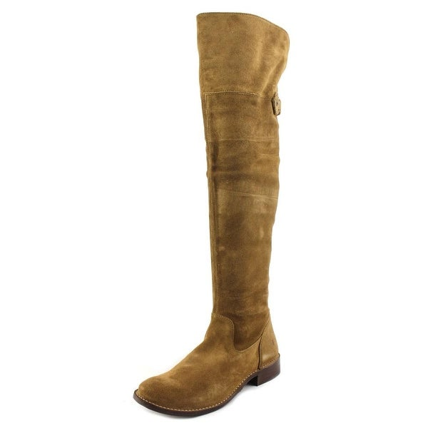 Frye Shirley OTK Women Round Toe Leather Brown Over the Knee Boot