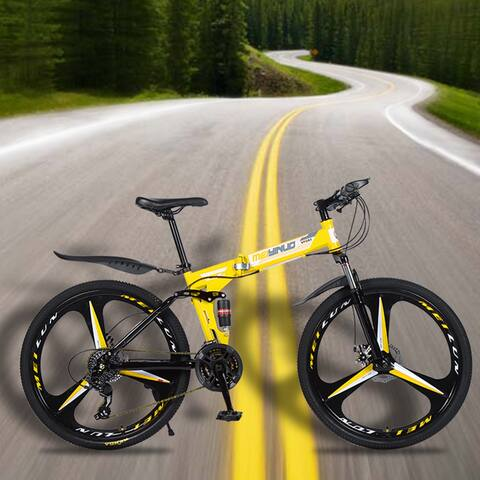 26 inch 21 Speeds Folding Mountain Bikes High Carbon Steel Bicycle
