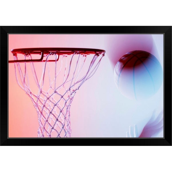 """""""Blurred view of basketball going into hoop"""" Black Framed Print"""