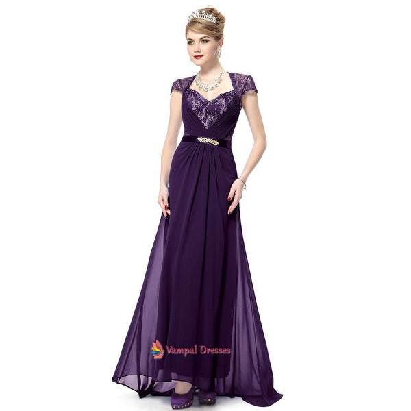 95f0ea11ab Shop Purple Prom Dresses With Lace Cap Sleeve,Purple Mother Of The ...