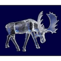 "Pack of 4 Icy Crystal Decorative Christmas Moose with Head Down Figurines 7.3"" - CLEAR"