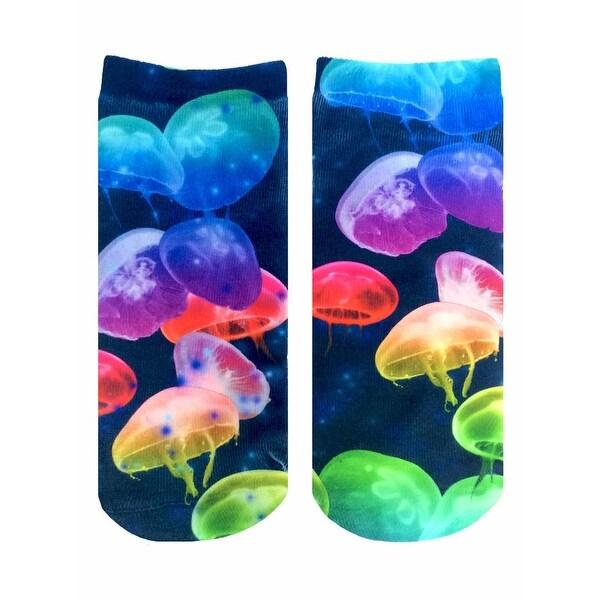 Jellyfish Photo Print Ankle Socks - Blue