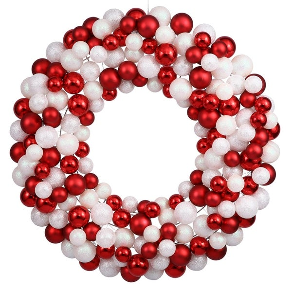 "36"" Sparkling Red & White Candy Cane Shatterproof Christmas Ball Ornament Wreath"