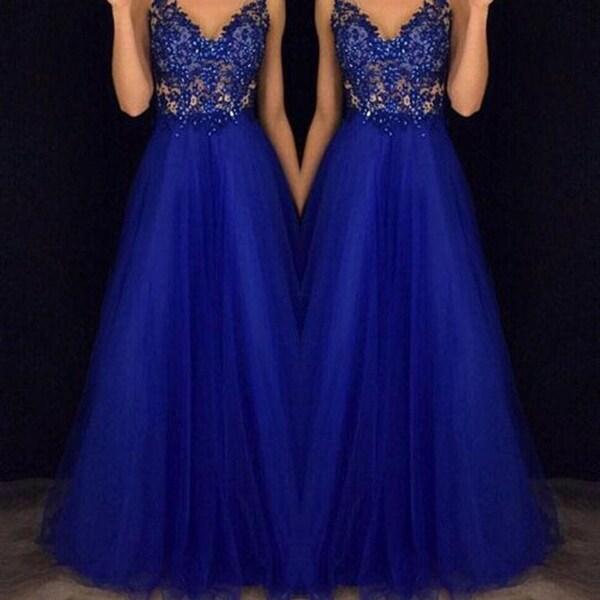 Elegant Halter Beaded Prom Gown Blue Chiffon Dress. Opens flyout.