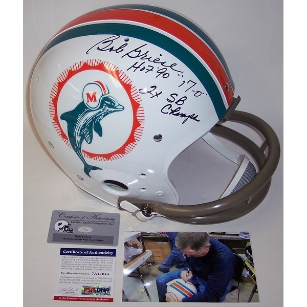brand new 38cb0 c7058 Bob Griese Autographed Hand Signed Miami Dolphins 2-Bar TK Throwback Full  Size Helmet - PSA/DNA