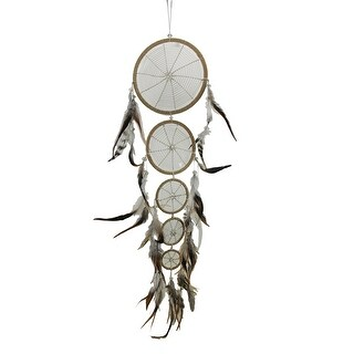 5 Tier Faux Suede and Feathers Dreamcatcher with Sparkling Clear Beads
