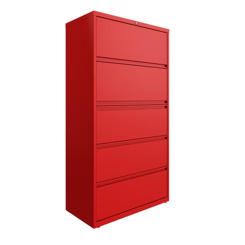 Hirsh 36 in Wide, 5 Drawer, HL8000 Series, Lava Red