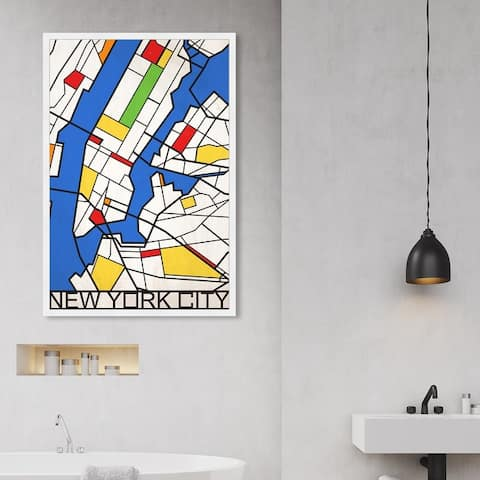 Oliver Gal 'New York Solid Color Map' Maps and Flags Wall Art Framed Print US Cities Maps - Blue, White