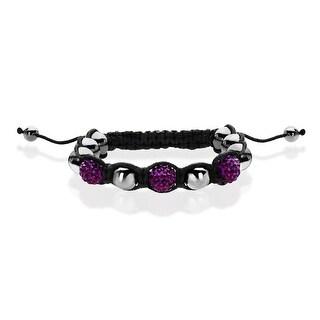 Aya Azrielant Shamballa Bracelet with Purple Crystal, Hematite & Starfish Charm - grey
