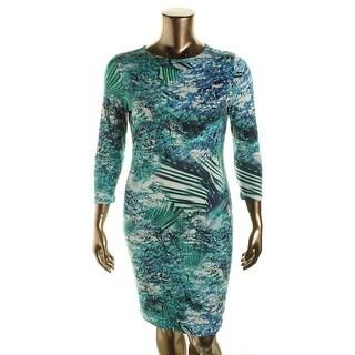 Karen Kane Womens Palmilla Knit 3/4 Sleeves Wear to Work Dress