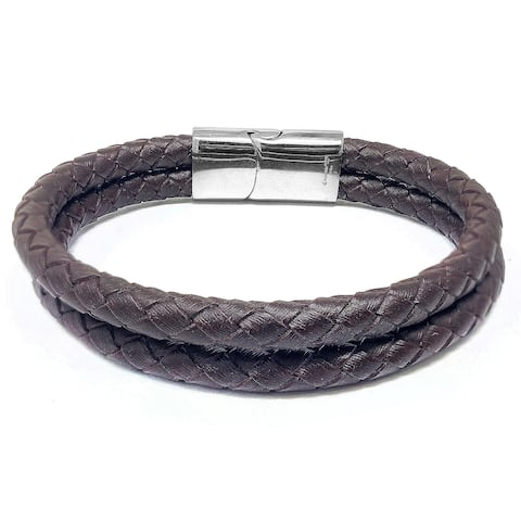 Stainless Steel Slide Clasp Double Leather Row Bracelet - 8.5 Inches