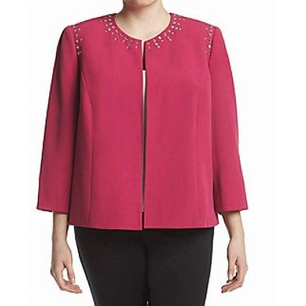Kasper Pink Womens Size 16W Plus Studded Open-Front Crepe Jacket