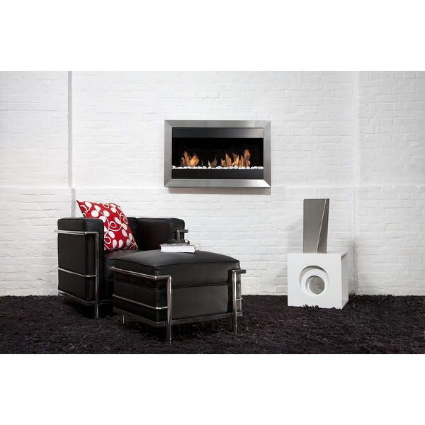 Bio Blaze BB-SQS2 Square Wall Mount Fire Place, Small - Silver
