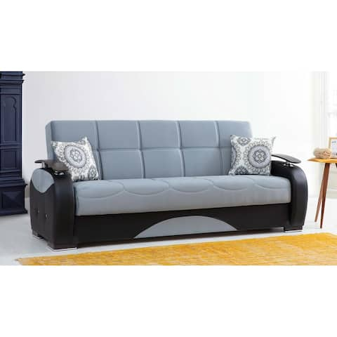 Kentucky Blue and Black Upholstered Convertible Sleeper Sofa with Storage