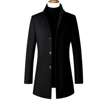 Link to Men's Trench Coat Wool Blend Slim Fit Top Coat Single Breasted Business Overcoat Similar Items in Men's Outerwear