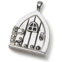 Antique Silver W/Window - Fairy Door Metal Charm 1/Pkg