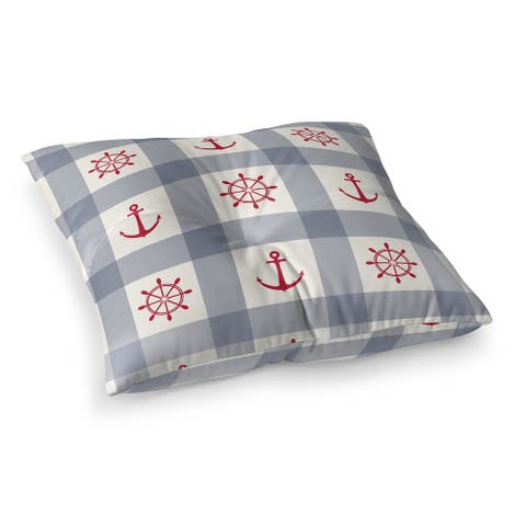 ANCHOR GALORE BLUE and RED Floor Pillow by Kavka Designs