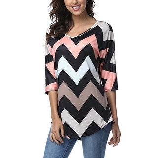 Women's 3/4 Sleeve Zig-Zag Pattern Loose Fit Tunic Top