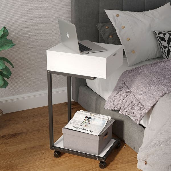 Shop Modern Sofa Side Table Laptop Table Mobile C Shaped Table With Storage For Living Room And Bedroom Overstock 30570261