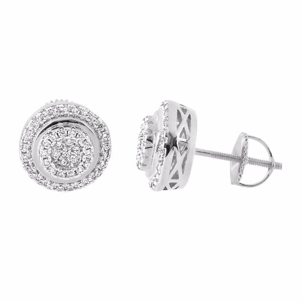 Round Halo Design Earrings Silver Tone Lab Diamonds Screw Back Studs 11 mm