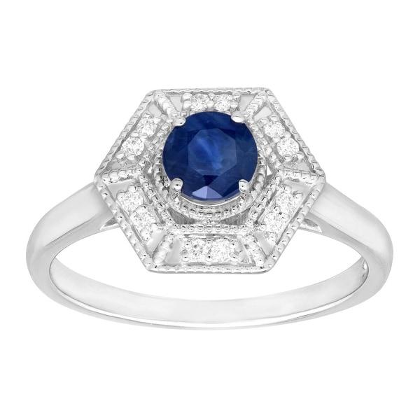 5/8 ct Natural Kanchanaburi Sapphire & 1/10 ct Diamond Hexagon Ring in 14K White Gold - Blue