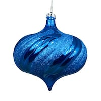 4ct Shiny Lavish Blue Glitter Swirl Shatterproof Onion Christmas Ornaments 5.75""