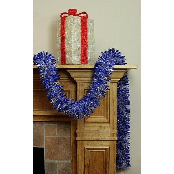 12' Soft and Sassy Blue and Silver Wide Cut Christmas Tinsel Garland - Unlit