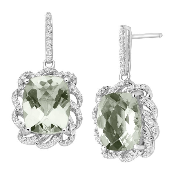 5 1/2 ct Natural Green Amethyst & 1/4 ct Diamond Drop Earrings in Sterling Silver