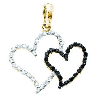 Twin Heart 14k Yellow Gold Black and White Diamonds 1/6Ctw By MidwestJewellery