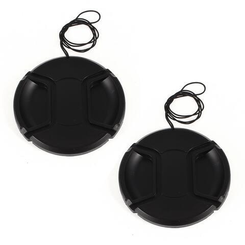 Unique Bargains 2 Pcs Digital Cameras 77mm Snap in Style Lens Cap w String Holder Keeper Strap