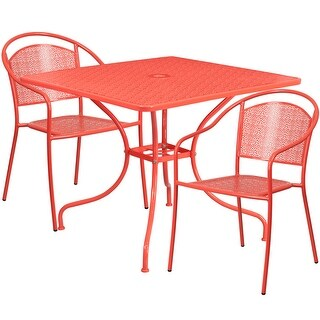 Westbury 3pcs Square 35.5'' Coral Steel Table w/2 Round Back Chairs